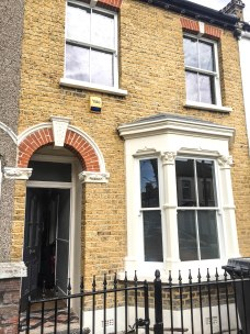Guild Architectural Restoration- pebble dash removal, brick restoration, repointing, timber sash window replacement, stone railing plinth, railings and gate