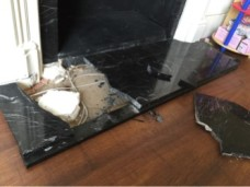 Marble Hearth Repair - Before