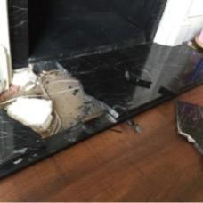 Marble Hearth Repair - Before