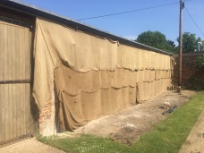 hessian protection to lime render